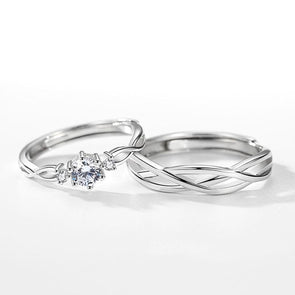 Round Cut Intertwined Couple Rings - jolics