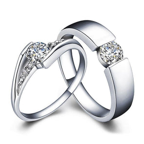 Round Cut Open Couple Rings - jolics