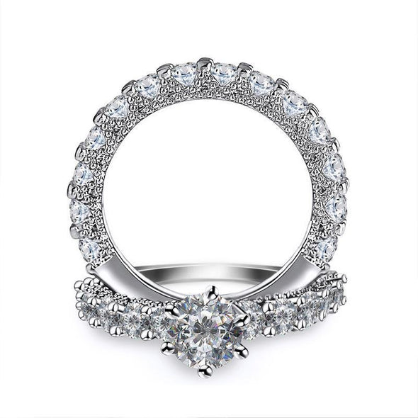 Round Cut White Sapphire 2pc Bridal Sets - jolics
