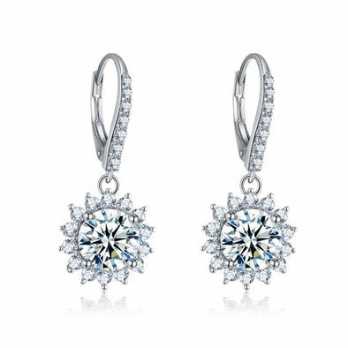 Round Flower Design Silver Earrings - jolics