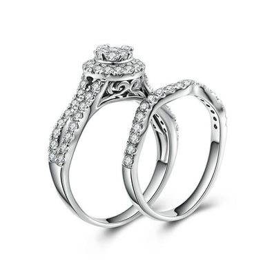 Round Halo Split Curved Silver Wedding Set - jolics
