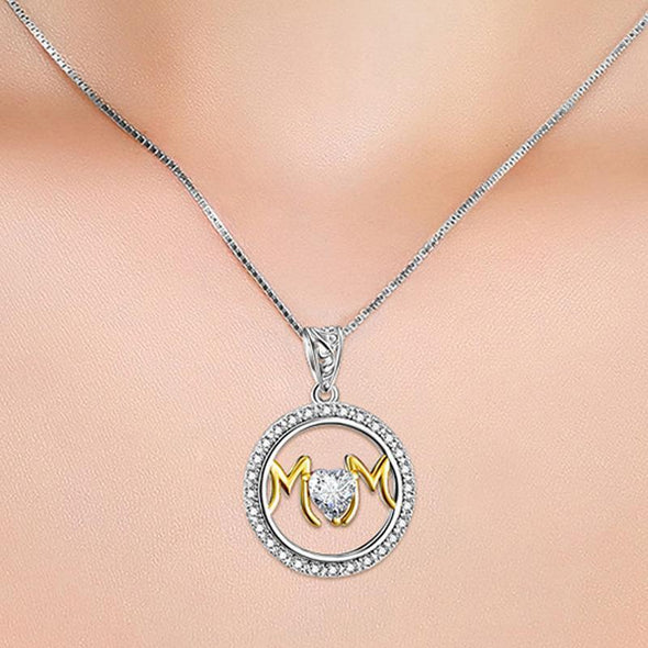Round Pendant Necklace With Heart Stone - jolics