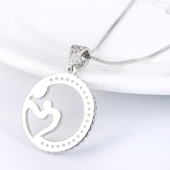 Round Shape Pendant Necklace with Mother and Child - jolics