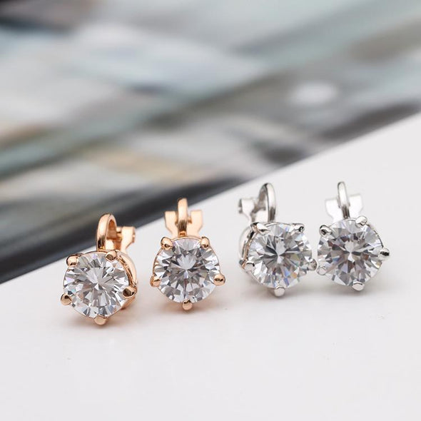 Simple 5 Prongs Solitaire Clip Earrings - jolics