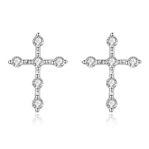 Simple Cross Earrings With Stones - jolics
