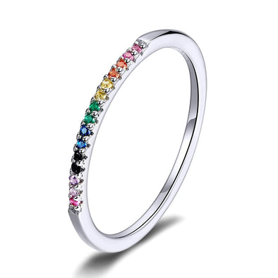 Simple Multi Color 925 Sterling Silver Stackable Ring - jolics