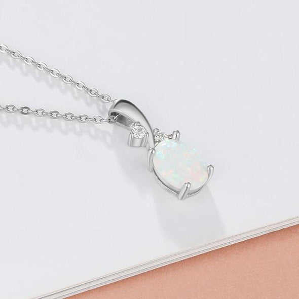 Simple Opal Oval Necklace - jolics