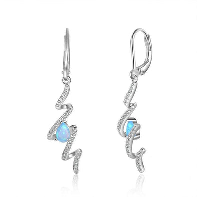 Simple Sea Wave Opal Inside Silver Drop Earrings - jolics
