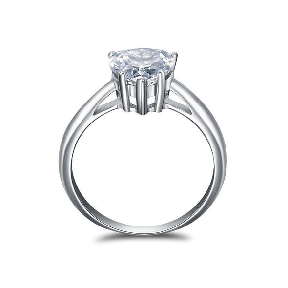 Solitaire Heart Cut Sterling Silver Engagement Ring - jolics