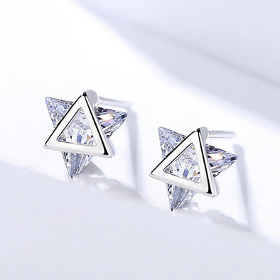 Star Design Trillion Cut Earrings - jolics