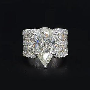 Stunning 13CT Pear Cut Lab-created Diamond Sterling Silver Ring in Widen Band Style - jolics