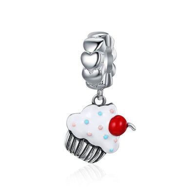 Sweet Cupcake 925 Sterling Silver Dangle Charm - jolics