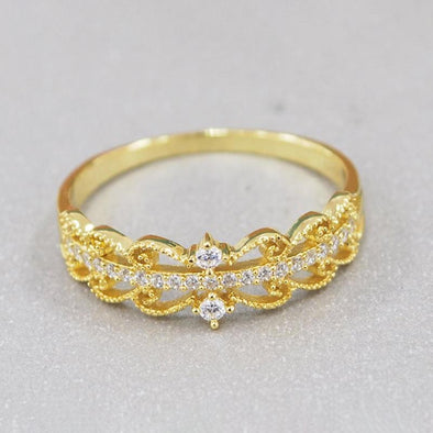 Symmetrical Lace Yellow Gold Ring - jolics
