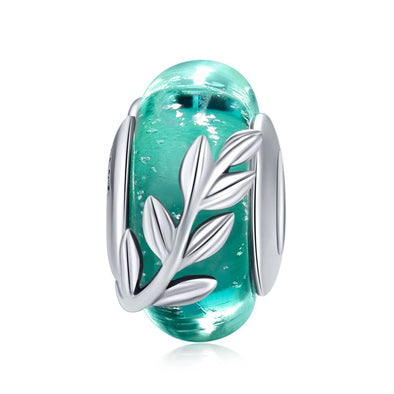 The Green Leaves of Summer 925 Sterling Silver Glass Bead Charm - jolics