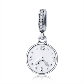 The Happiness Time-Clock 925 Sterling Silver Dangle Charm - jolics