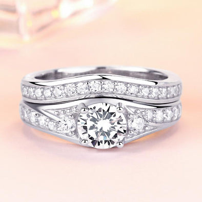 Three Stone Created White Sapphire 925 Sterling Silver Wedding Ring Set - jolics