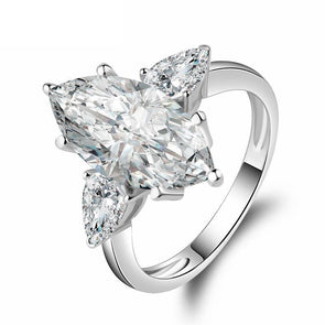 Three Stone Marquise Created Engagement Ring - jolics
