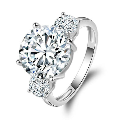 Three Stone Round Cut 925 Sterling Silver Engagement Ring - jolics
