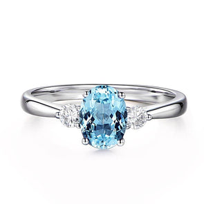 Topaz Oval Cut Three Stone Ring - jolics