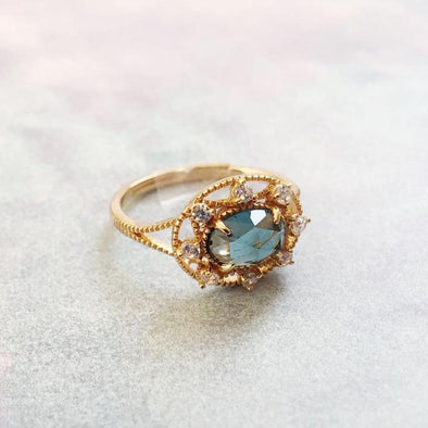 Topaz Oval Lace Split Open Ring - jolics