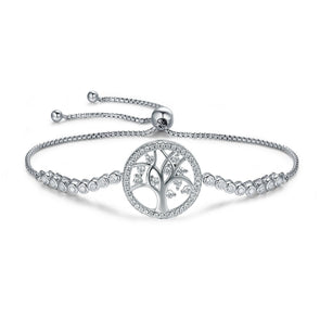 Tree of Life 925 Sterling Silver Adjustable Tennis Bracelet - jolics