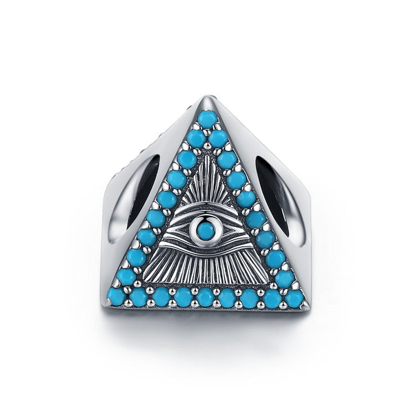 Triangle Blue Eyes Sterling Silver Bead Charm - jolics
