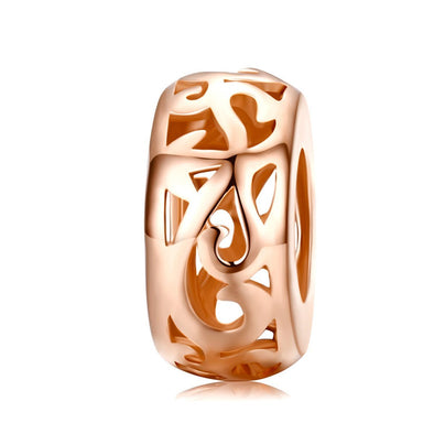 Vintage Rose Gold Roll Grass Pattern 925 Sterling Silver Charm - jolics