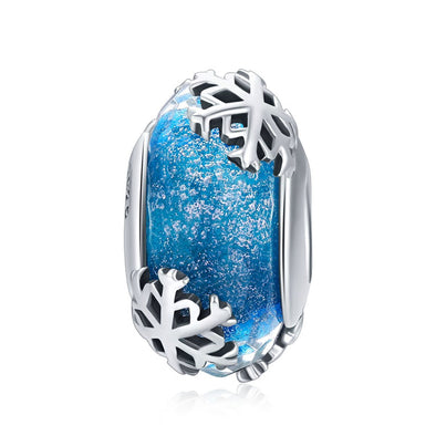 Winter Snowflake 925 Sterling Silver Glass Bead Charm - jolics