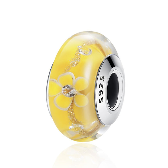 Yellow Flower 925 Sterling Silver Glass Bead Charm - jolics
