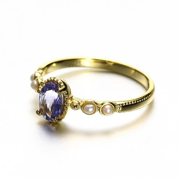 Yellow Gold Zoisite Stone Ring With Pearl - jolics