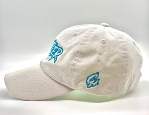 Hustler Dad hat (White/Aqua)