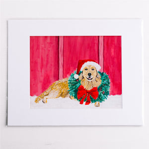Golden with Wreath Holiday Print