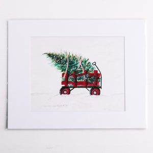 Wagon with Tree Holiday Print