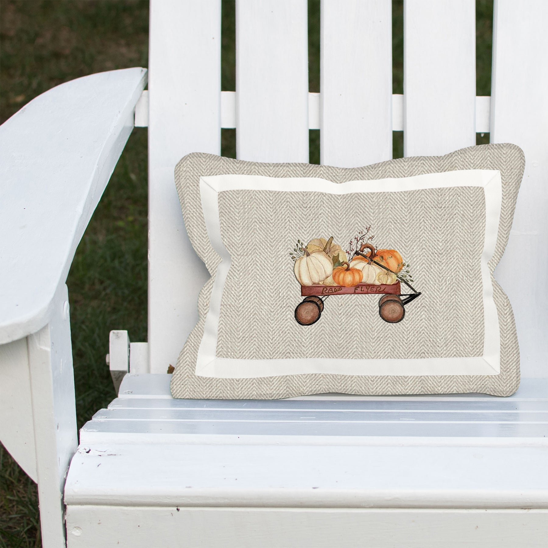 Pumpkin Wagon on Linen Herringbone Lumbar
