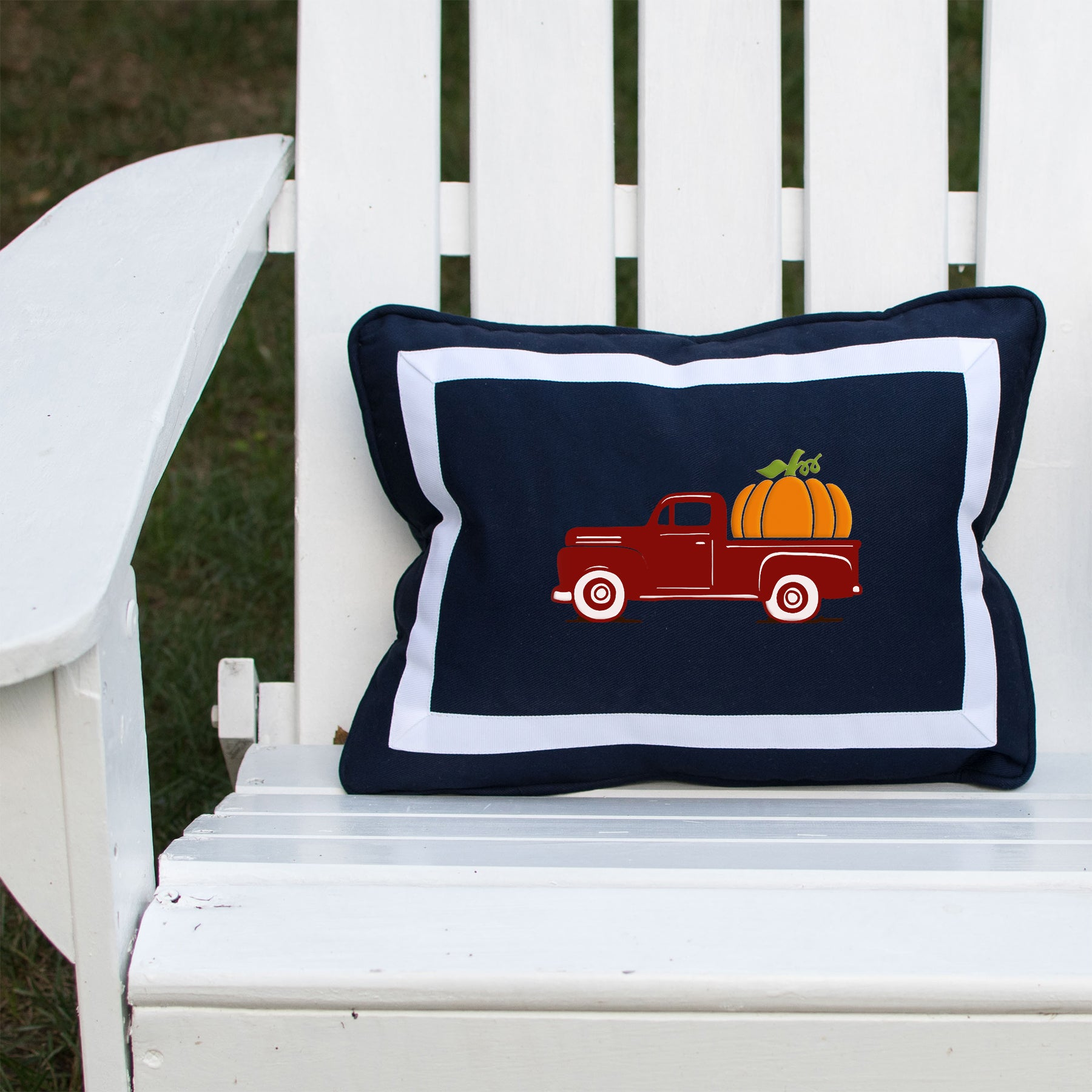 Fall Vintage Truck on Outdoor Navy Lumbar