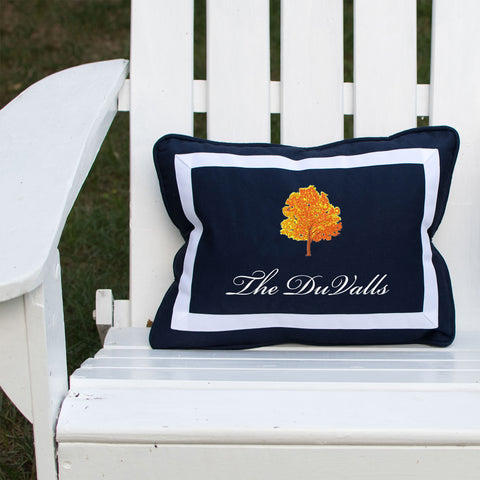 Autumn Leaves on Outdoor Navy Lumbar