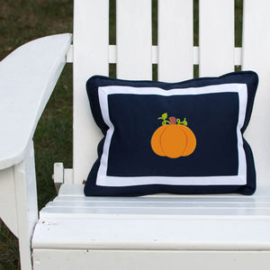 Pumpkin on Outdoor Navy Lumbar