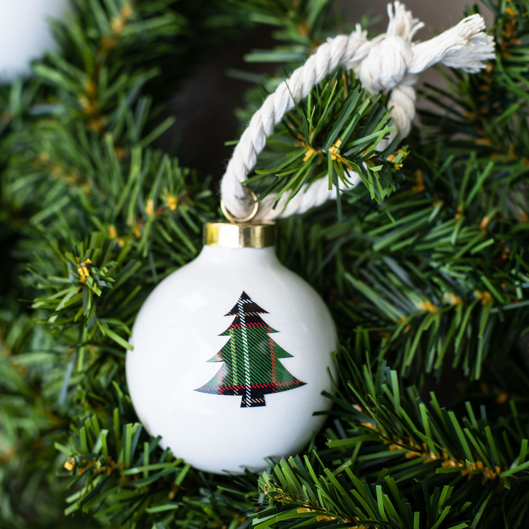 Plaid Tree Ball Ornament