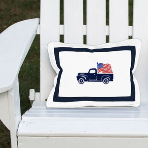 Vintage Truck with American Flag Outdoor Lumbar