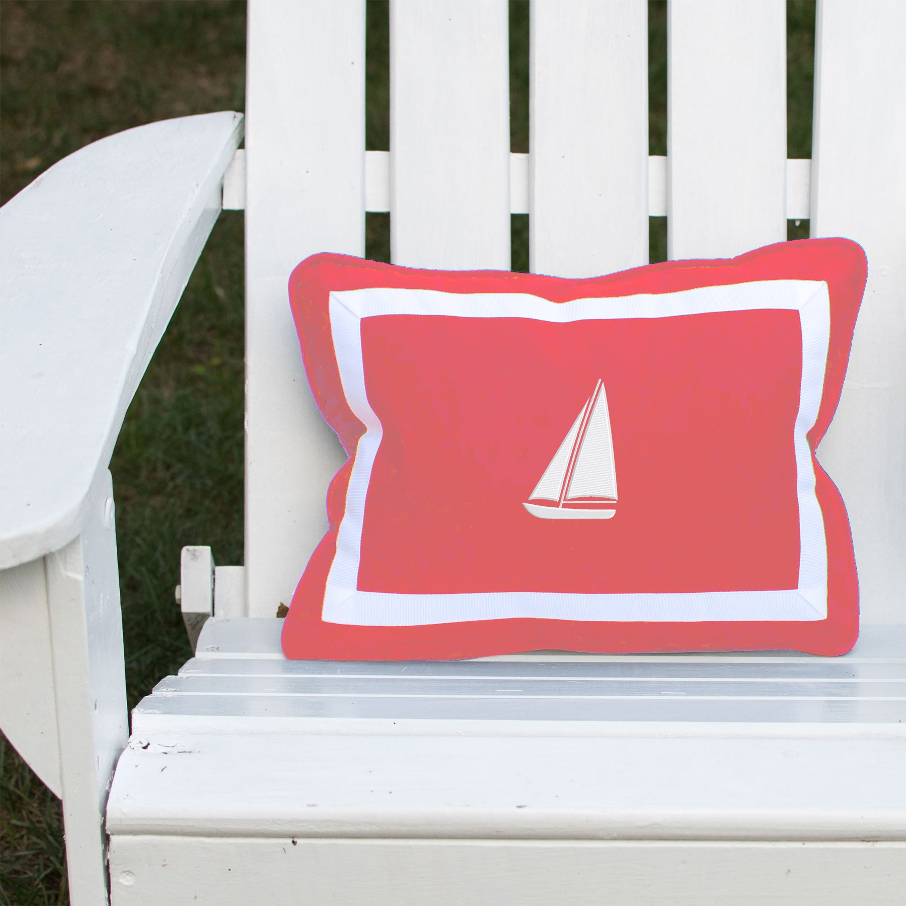 Sailboat on Outdoor Coral Lumbar
