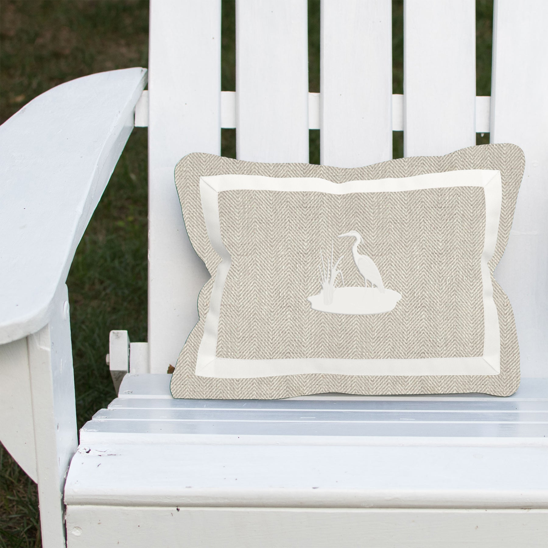 Blue Heron on Outdoor Linen Herringbone Lumbar