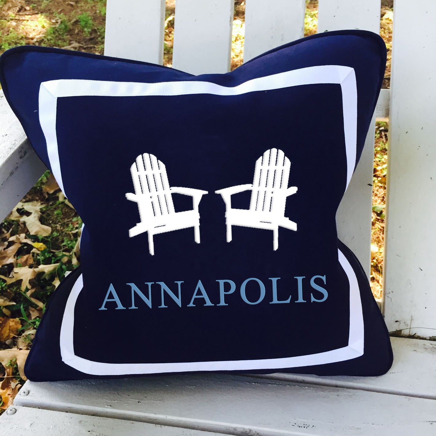 Adirondack Pair with Annapolis on Outdoor Navy 18""