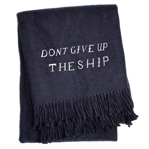 Don't Give Up The Ship - Solid Navy Throw