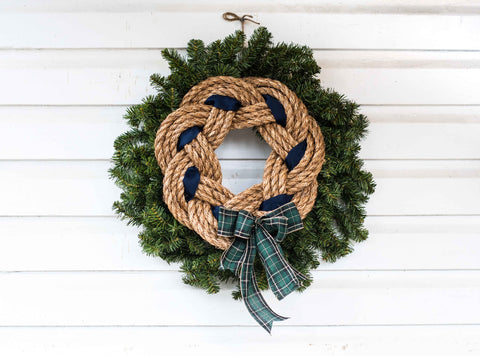 Natural Rope Navy + Green Plaid