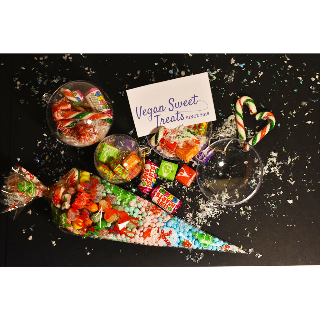 Vegan Festive candy cone & baubles gift set