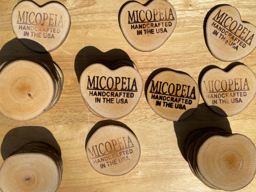Iron Branded MICOPEIA Birch Wood Coaster