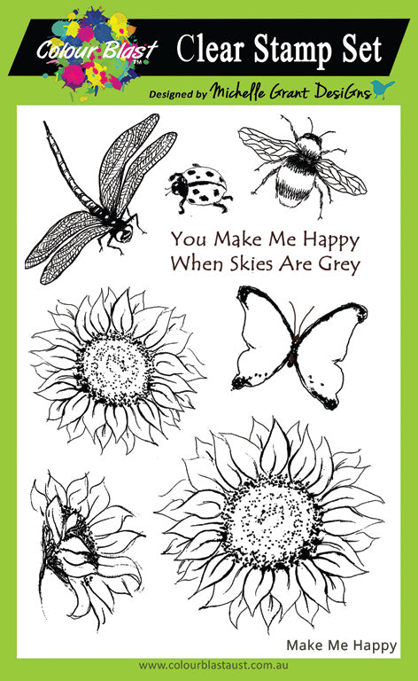 Make Me Happy - Red Rubber Stamp Set