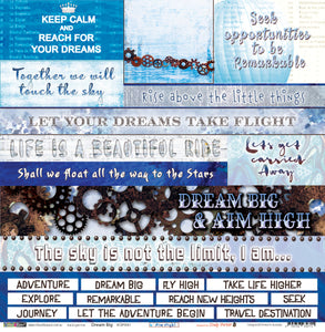 "Dream Big - 12""x12"" Scrapbooking Paper - Word Sheet"