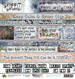 "Be Yourself - 12""x12"" Scrapbooking Paper - Word Sheet"