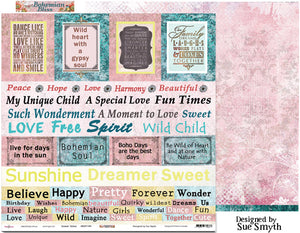 "Sweet Talker - 12""x12"" Scrapbooking Paper - Word Sheet"